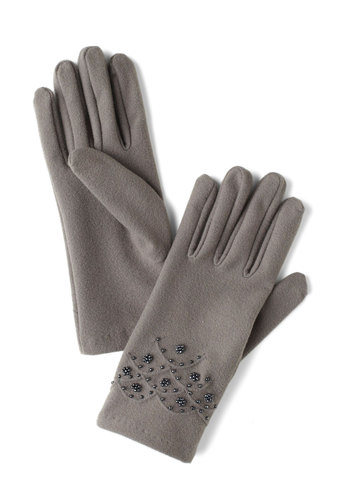 Afternoon in Oxford Gloves - Grey, Solid, Beads, Winter