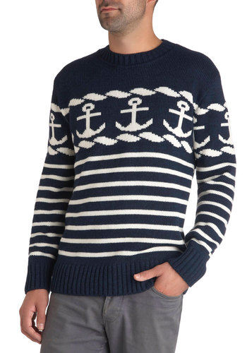 You're Alright in My Hook Sweater - International Designer, Blue, White, Stripes, Daytime Party, Nautical, Long Sleeve, Fall