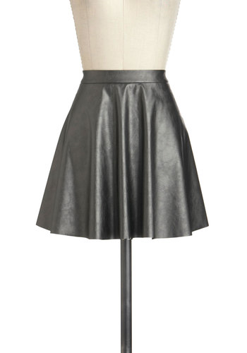 Steel the Show Skirt - Faux Leather, Short, Grey, Solid, Party, Cocktail, Girls Night Out, Holiday Party, Luxe, Urban, A-line