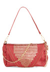 Zipper-fect Shade Purse - Red, Solid, Chain, Studs, Faux Leather, Pockets