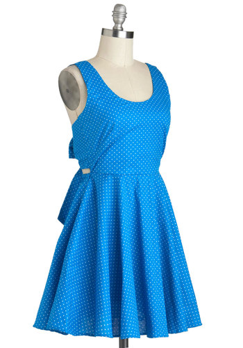 Sea and Santorini Dress - Blue, White, Polka Dots, Backless, Casual, A-line, Sleeveless, Cotton, Short, Fit & Flare, Beach/Resort, Scoop, Summer