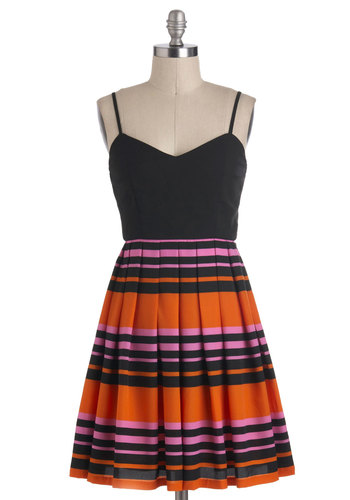 Sunset Your Sights Dress - Orange, Pink, Stripes, Pleats, A-line, Spaghetti Straps, Mid-length, Casual, Twofer, Multi