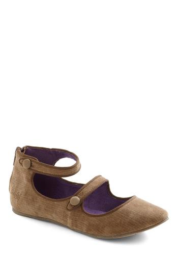 My Gal-livanting Flat in Tan - Flat, Tan, Solid, Buttons, Casual, Fall