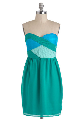 On the Neato Deck Dress - Party, Strapless, Green, Blue, Mid-length, Mint, Sweetheart, Prom
