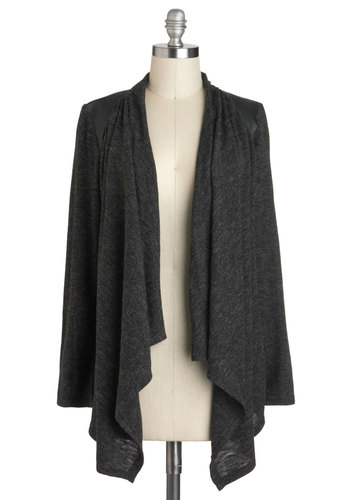 Thrill Zone Cardigan - Grey, Solid, Casual, Long Sleeve, Winter, Minimal