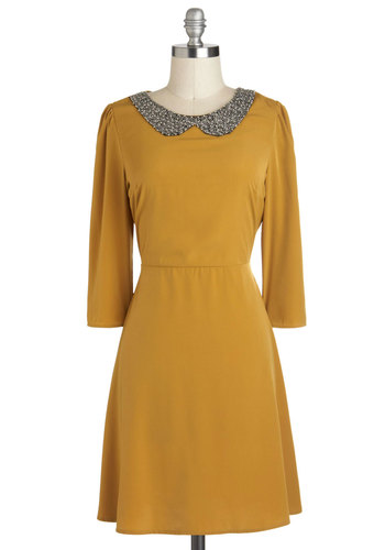 Go For the Marigold Dress - Yellow, Beads, Peter Pan Collar, A-line, Mid-length, Cocktail, Vintage Inspired, 3/4 Sleeve, Collared, Work, Casual