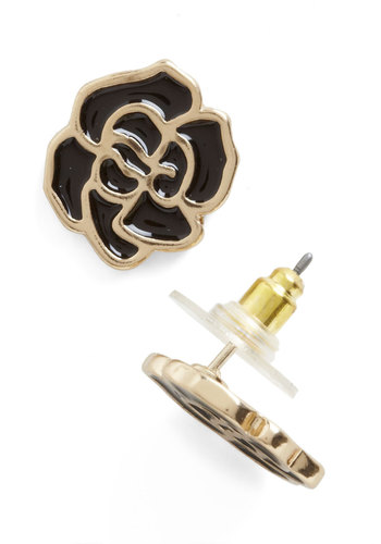 Rose Noir Earrings - Black, Gold, Solid, Flower