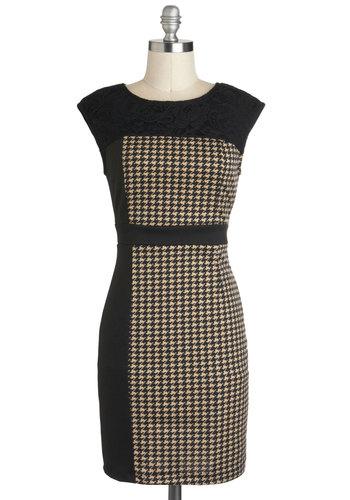 Presentation Day Dress - Black, Tan / Cream, Houndstooth, Work, Shift, Cap Sleeves, Short, Vintage Inspired, 60s