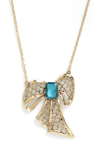 Perfect Presence Necklace - Gold, Blue, Bows