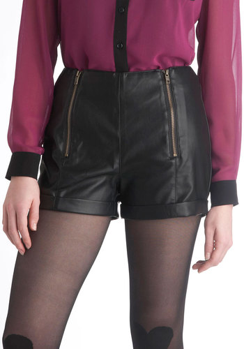 One Faux the Road Shorts - Black, Exposed zipper, Casual, Girls Night Out, Urban, High Waist, Short