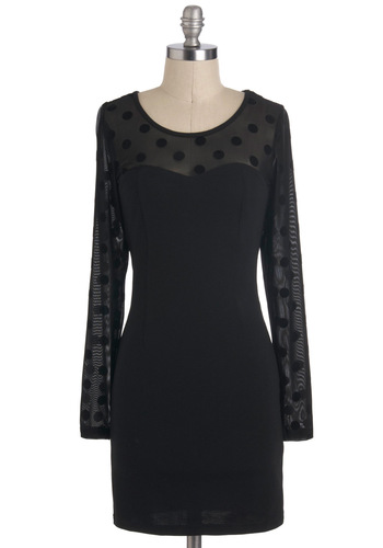 Vivacious Las Vegas Dress - Black, Long Sleeve, Short, Sheer, Solid, Party, Shift, Polka Dots, Girls Night Out, Winter