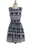 Tikal Park Tour Dress - Blue, Paisley, Casual, A-line, Sleeveless, Mid-length, White, Daytime Party