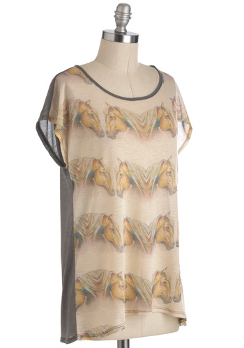 Mane Squeeze Tee - Sheer, Mid-length, Grey, Brown, Tan / Cream, Casual, Short Sleeves, Print with Animals