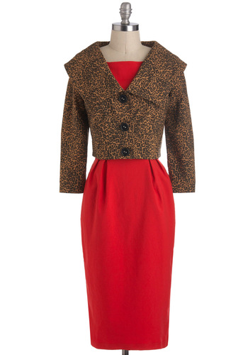 Garner Style Dress by Bettie Page - Long, Red, Brown, Animal Print, Buttons, Cocktail, Vintage Inspired, Bows, Sheath / Shift, Sleeveless, Holiday Party, 40s