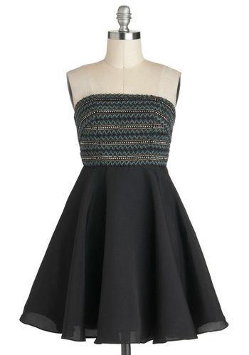 Best Swishes Dress - Party, Strapless, Mid-length, Black, Green, Twofer