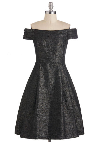 Kettle Corn Dress in Glistening Noir by Emily and Fin - Mid-length, International Designer, Black, Solid, Cocktail, Vintage Inspired, A-line, Sleeveless, Off the Shoulder, Fit & Flare, Holiday Party, 50s