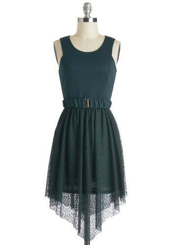 Arugula La Dress - Short, Green, Solid, Lace, Belted, A-line, Sleeveless, Lace, Party