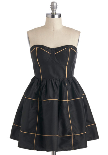 Positive Latitude Dress - Black, Tan / Cream, Exposed zipper, Party, Strapless, Sweetheart, Short, Pockets