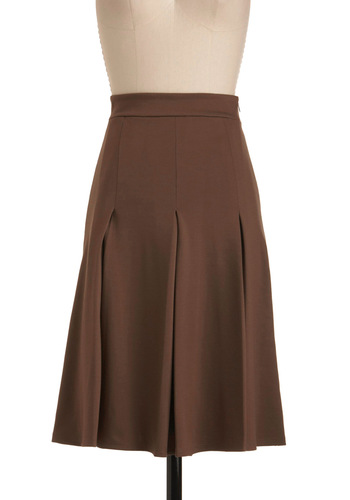 Fashionable Fundraiser Skirt - Long, Brown, Solid, Pleats, Work