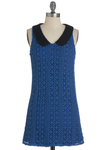 Pool, Calm, and Collected Dress - Blue, Black, Crochet, Shift, Sleeveless, Short, Solid, Peter Pan Collar, Casual, Press Placement, Scholastic/Collegiate, Cotton, Collared, Mod