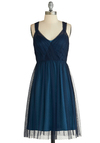 Sway Through the Soiree Dress - Blue, A-line, Sleeveless, Solid, Ruching, Special Occasion, V Neck, Long, Holiday Party