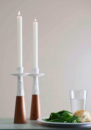 Ebb and Glow Candlestick Set - White, 60s, Handmade & DIY, Mid-Century, Brown