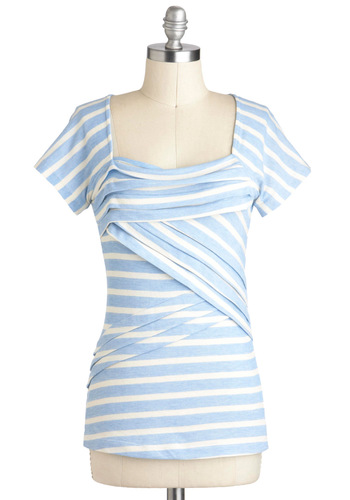 Sky Favorite Things Top - Blue, White, Stripes, Pleats, Casual, Short Sleeves, Mid-length, Summer