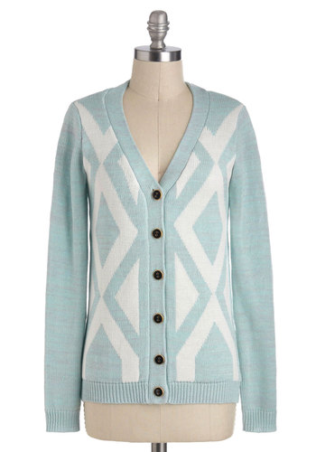 Monday Morning Sky Cardigan - Mid-length, Blue, White, Print, Buttons, Long Sleeve, Casual