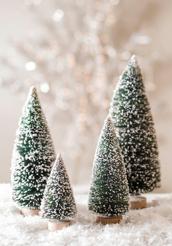 Home Fir the Holidays Mini Tree Set - Green, White, Holiday