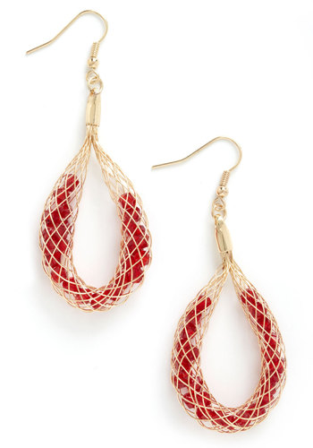 It's All Relativity Earrings - Red, Gold, Solid, Beads, Statement