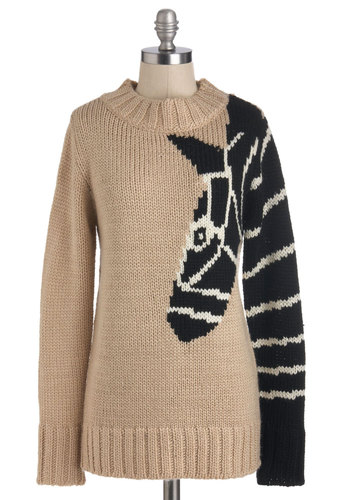 Arm and a Leg-up Sweater - Mid-length, Tan, Black, Knitted, Casual, Safari, Long Sleeve, Print with Animals, Novelty Print