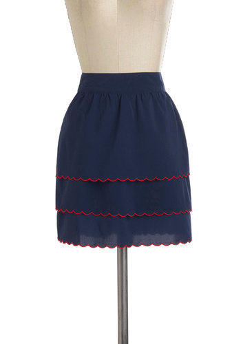 Gal in Scallops Skirt by Tulle Clothing - Blue, Red, Scallops, Casual, Short, Trim