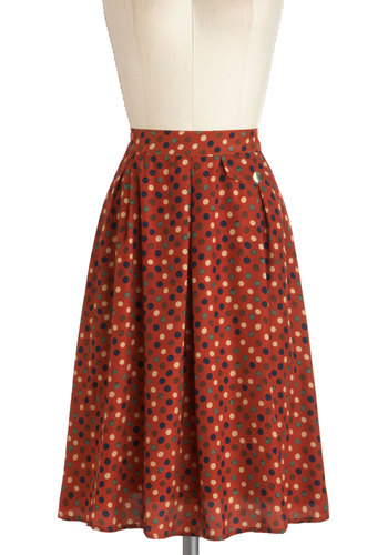 Hip in Dots Skirt by Tulle Clothing - Orange, Green, Purple, Tan / Cream, Polka Dots, A-line, Long, Work, Casual, 70s