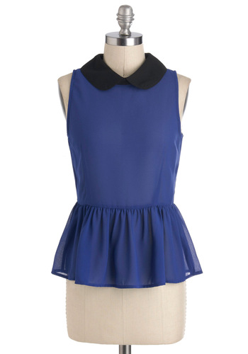Blue a Kiss Top - Blue, Black, Peter Pan Collar, Sleeveless, Sheer, Mid-length, Work, Vintage Inspired