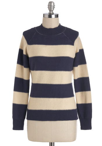 Go the Nautical Mile Sweater by Tulle Clothing - Tan / Cream, Stripes, Long Sleeve, Cotton, Mid-length, Blue, Nautical, Travel
