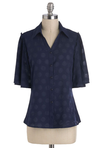 Subtle Down With Me Top by Tulle Clothing - Blue, Polka Dots, Buttons, Short Sleeves, Sheer, Mid-length, Work