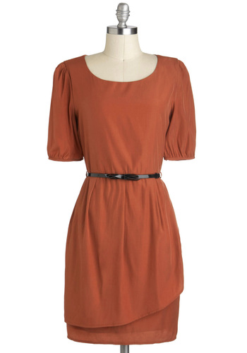 Sincere-rust Gratitude Dress - Orange, Solid, Belted, Short Sleeves, Mid-length, Work, Shift