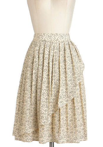 Sunflower Seedlings Skirt by Tulle Clothing - Cream, Black, Pleats, A-line, Long, Print, Bows, Daytime Party