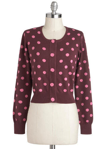 Dab of Fabulous Cardigan - Short, Purple, Pink, Polka Dots, Buttons, Work, Quirky, Long Sleeve, Cotton