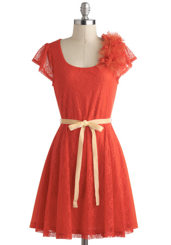 Firework of Art Dress - Lace, Cap Sleeves, Orange, Flower, Belted, Daytime Party, A-line, Fairytale, Mid-length