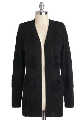 Texture Guru Cardigan by Tulle Clothing - Black, Knitted, Long Sleeve, Solid, Casual