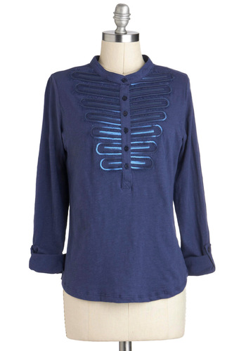 Off-Duty Drum Major Top - Cotton, Blue, Solid, Buttons, Sequins, Work, Long Sleeve, Mid-length