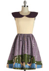 Wood-n't It Be Lovely Dress by Knitted Dove - Purple, Tan / Cream, Casual, A-line, Mid-length, Print with Animals, Pockets, Cap Sleeves, Collared, Daytime Party, Vintage Inspired