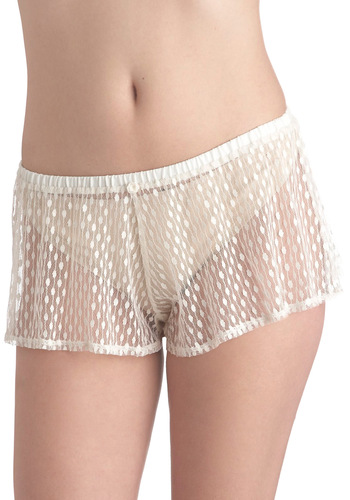 Marshmallow Mood Sleep Shorts by Only Hearts - Cream, Polka Dots, Sheer, Wedding, Vintage Inspired