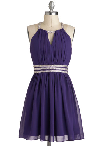 Royal Purple Dreams Dress - Purple, Silver, Beads, Sleeveless, Short, Cutout, Formal, A-line, Prom