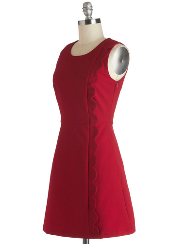 You Know the Frill Dress by Louche - International Designer, Short, Red, Solid, Pockets, Cocktail, A-line, Sleeveless, Scallops, Minimal