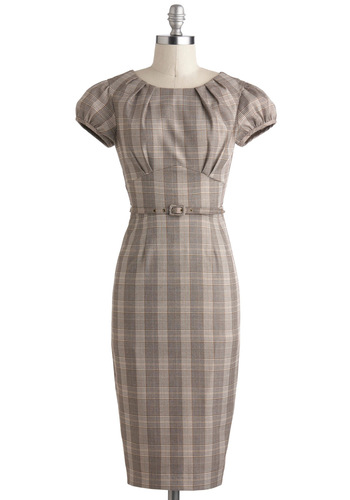 Biz and Hers Dress by Stop Staring! - Plaid, Belted, Work, Sheath / Shift, Long, Tan, Pleats, Cap Sleeves, Pinup, 50s, 60s