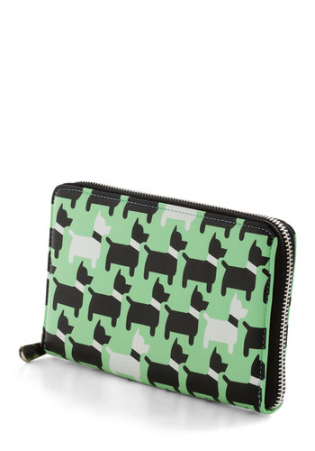 I Scot This One Wallet - Black, White, Print with Animals, Faux Leather, Green