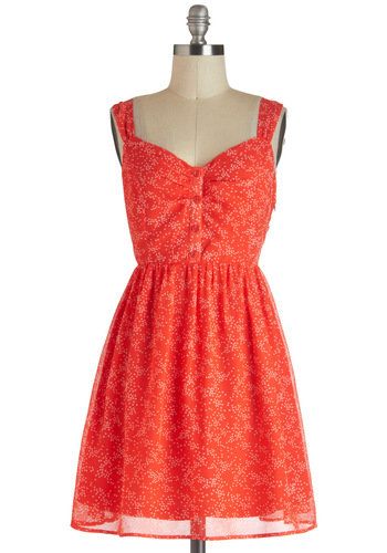 Twinkly Stars Dress by Tulle Clothing - Short, Coral, Print, Buttons, A-line, Sleeveless, Daytime Party, Vintage Inspired