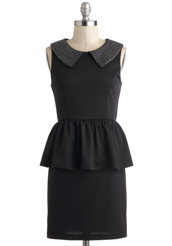 Jazz and Dazzle Dress - Short, Black, Studs, Peplum, Sleeveless, Collared, Party, Vintage Inspired
